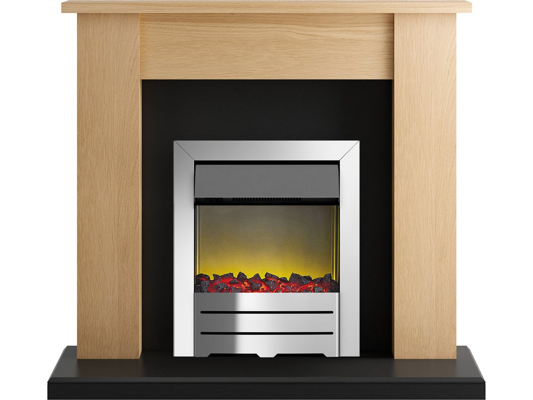 Adam New England Fireplace Suite in Oak and Black with Colorado Fire in Chrome, 48 Inch