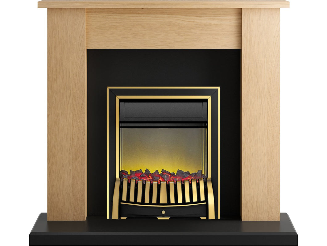 Adam New England Fireplace Suite in Oak and Black with Elan Fire in Brass, 48 Inch