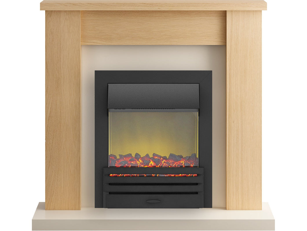 Adam Solus Fireplace Suite in Oak with Eclipse Electric Fire in Black, 39 Inch