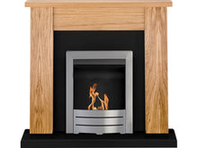 Load image into Gallery viewer, Adam New England Fireplace Suite Oak & Black with Colorado Bio Ethanol Fire in Brushed Steel 48 inch