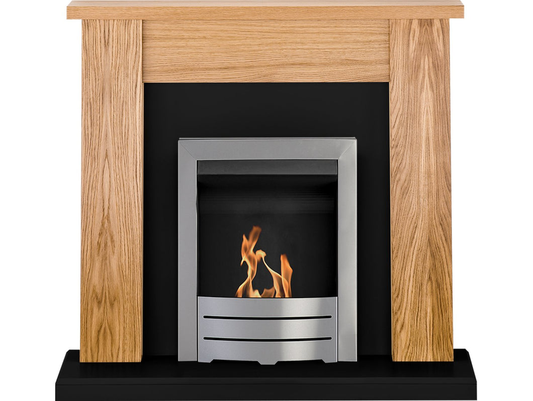 Adam New England Fireplace Suite Oak & Black with Colorado Bio Ethanol Fire in Brushed Steel 48 inch