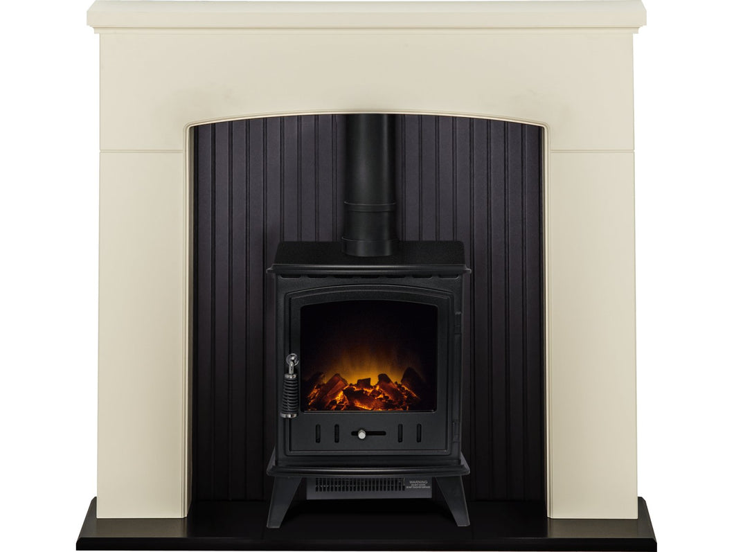 Adam Derwent Stove Suite in Cream with Aviemore Electric Stove in Black, 48 Inch
