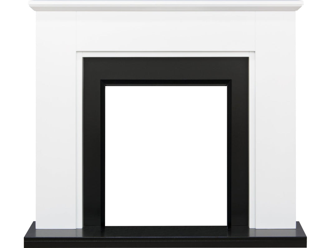 Adam Greenwich Fireplace in Pure White and Black, 45 Inch