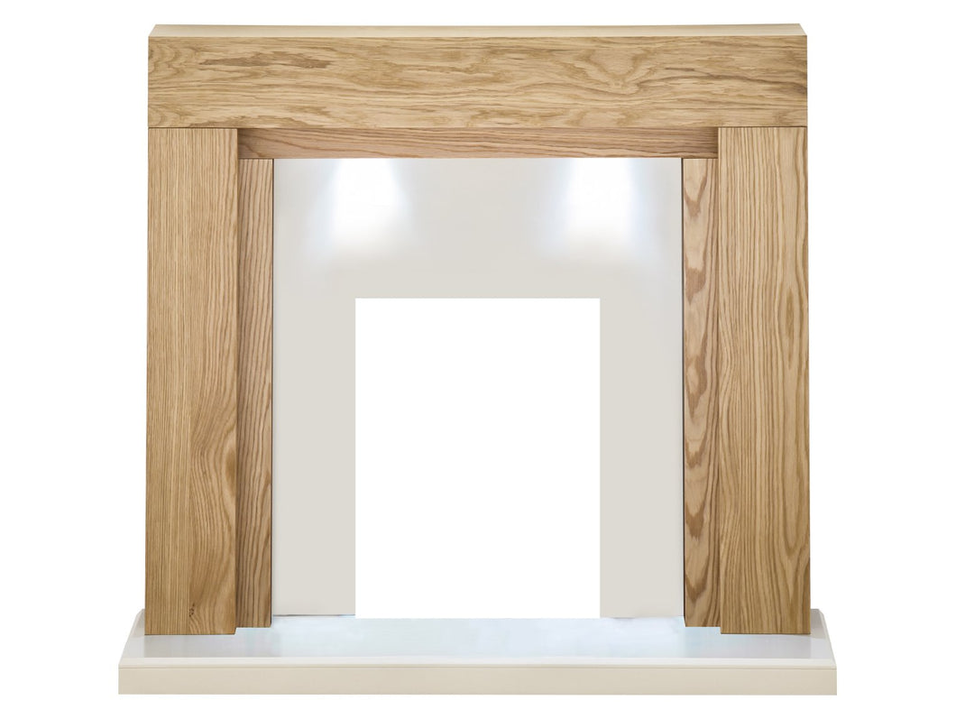 Adam Beaumont Fireplace in Oak and Cream with Downlights, 48 Inch