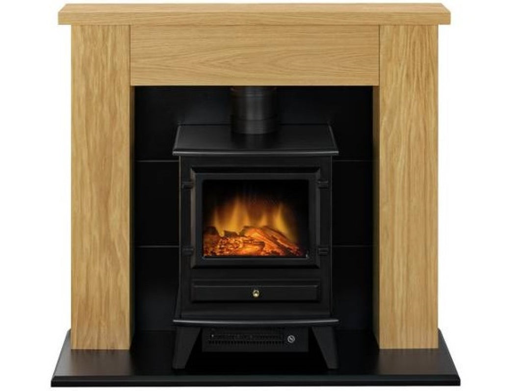 Adam Chester Stove Suite in Oak with Hudson Electric Stove in Black, 39 Inch