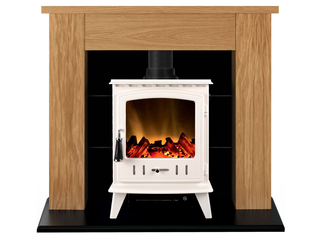 Adam Chester Stove Suite in Oak with Aviemore Electric Stove in White Enamel, 39 Inch