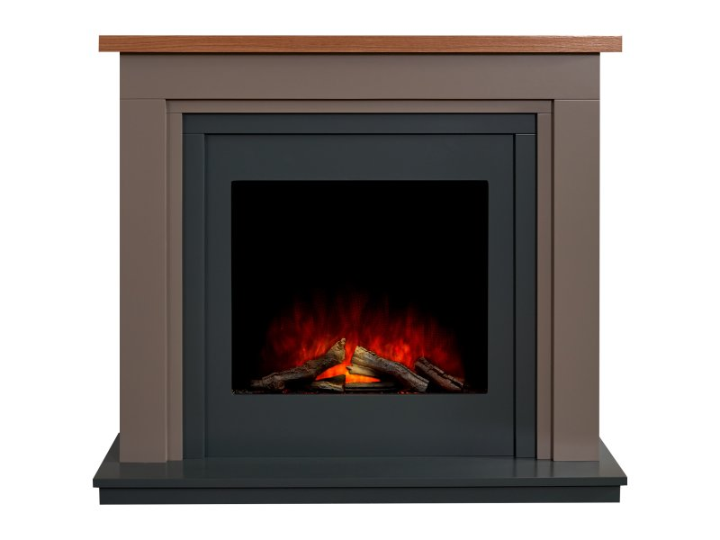 Adam Neston Electric Fireplace Suite in Charcoal Grey, 44 Inch