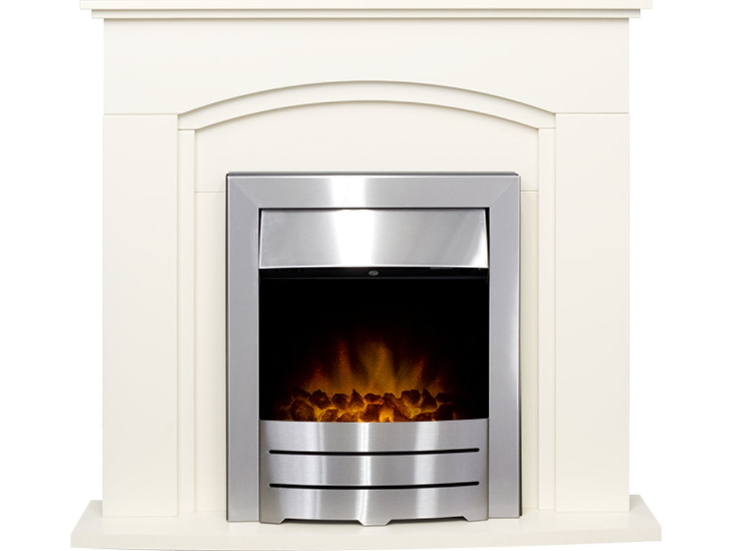 Adam Venice Fireplace Suite in Cream with Colorado Electric Fire in Brushed Steel, 39 Inch