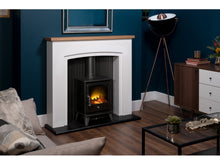 Load image into Gallery viewer, Adam Siena Stove Suite Pure White + Aviemore Electric Stove Black Enamel 48""