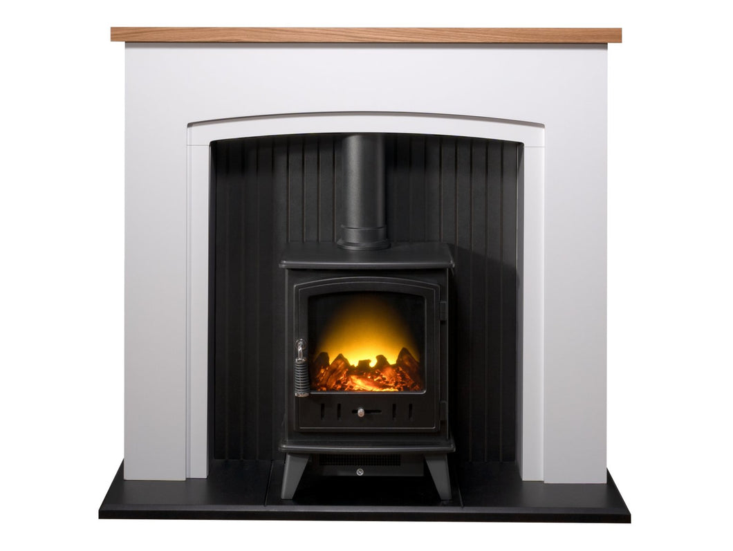 Adam Siena Stove Suite in Pure White with Aviemore Electric Stove in Black Enamel 48 Inch