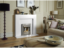 Load image into Gallery viewer, Adam Miami Fireplace Pure White + Helios Electric Fire Brushed Steel, 48""