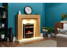 Load image into Gallery viewer, Adam Beaumont Fireplace Suite Oak & Cream + Cambridge 6-in-1 Electric Fire Black, 48""