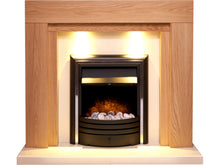 Load image into Gallery viewer, Adam Beaumont Fireplace Suite in Oak & Cream with Cambridge 6-in-1 Electric Fire in Black, 48 Inch