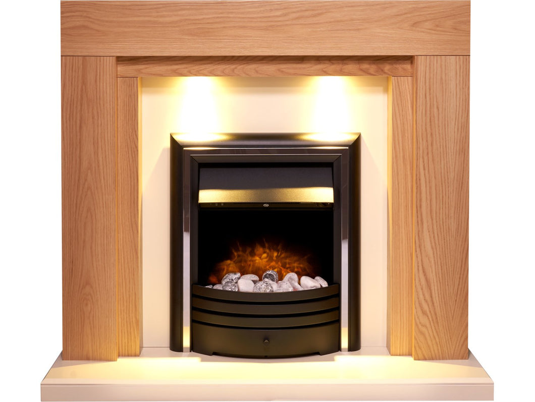 Adam Beaumont Fireplace Suite in Oak & Cream with Cambridge 6-in-1 Electric Fire in Black, 48 Inch