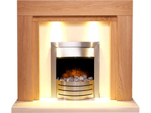 Load image into Gallery viewer, Adam Beaumont Fireplace Suite in Oak & Cream with Comet Electric Fire in Brushed Steel, 48 Inch