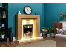 Load image into Gallery viewer, Adam Beaumont Fireplace Suite Oak & Cream + Comet Electric Fire Brushed Steel, 48""