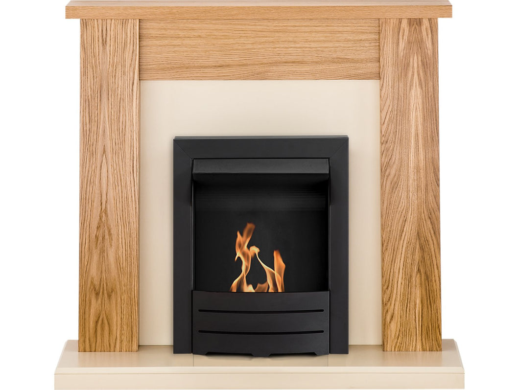 Adam New England Fireplace Suite in Oak with Colorado Bio Ethanol Fire in Black, 48 Inch