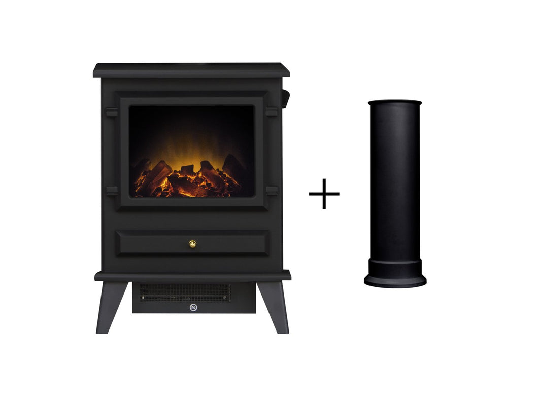 Adam Hudson Electric Stove in Black with Straight Stove Pipe