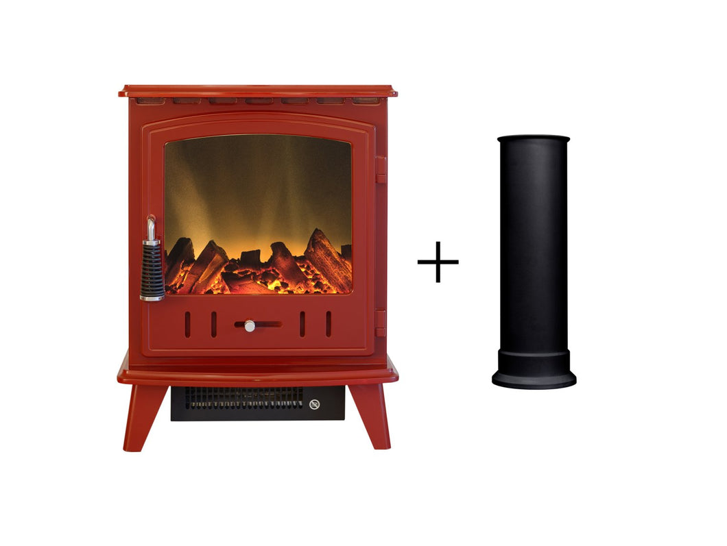 Adam Aviemore Electric Stove in Red Enamel with Straight Stove Pipe