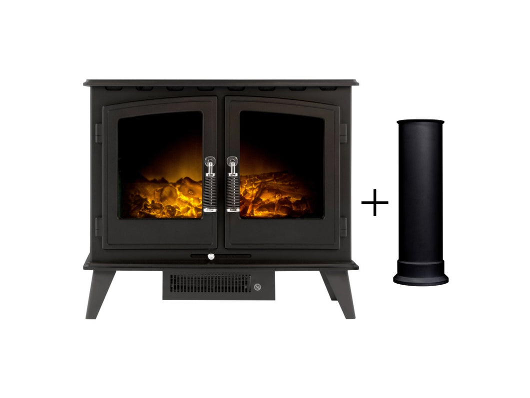 Adam Woodhouse Electric Stove in Black with Straight Stove Pipe