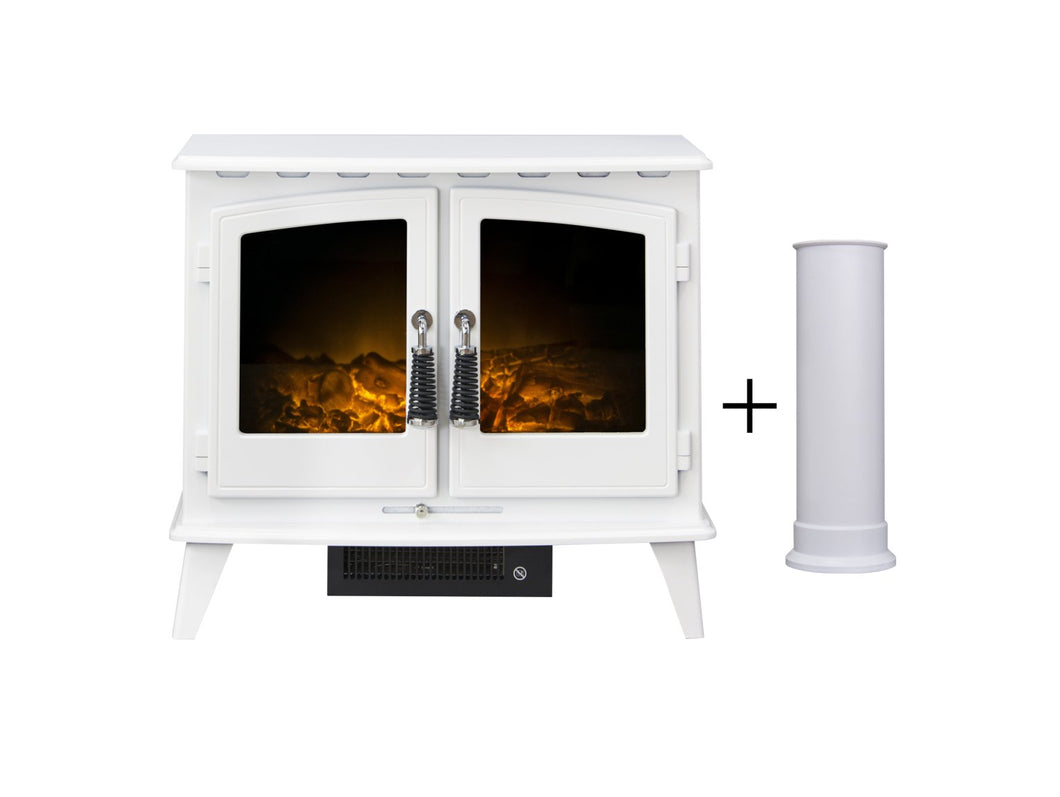 Adam Woodhouse Electric Stove in Pure White with Straight Stove Pipe in Pure White