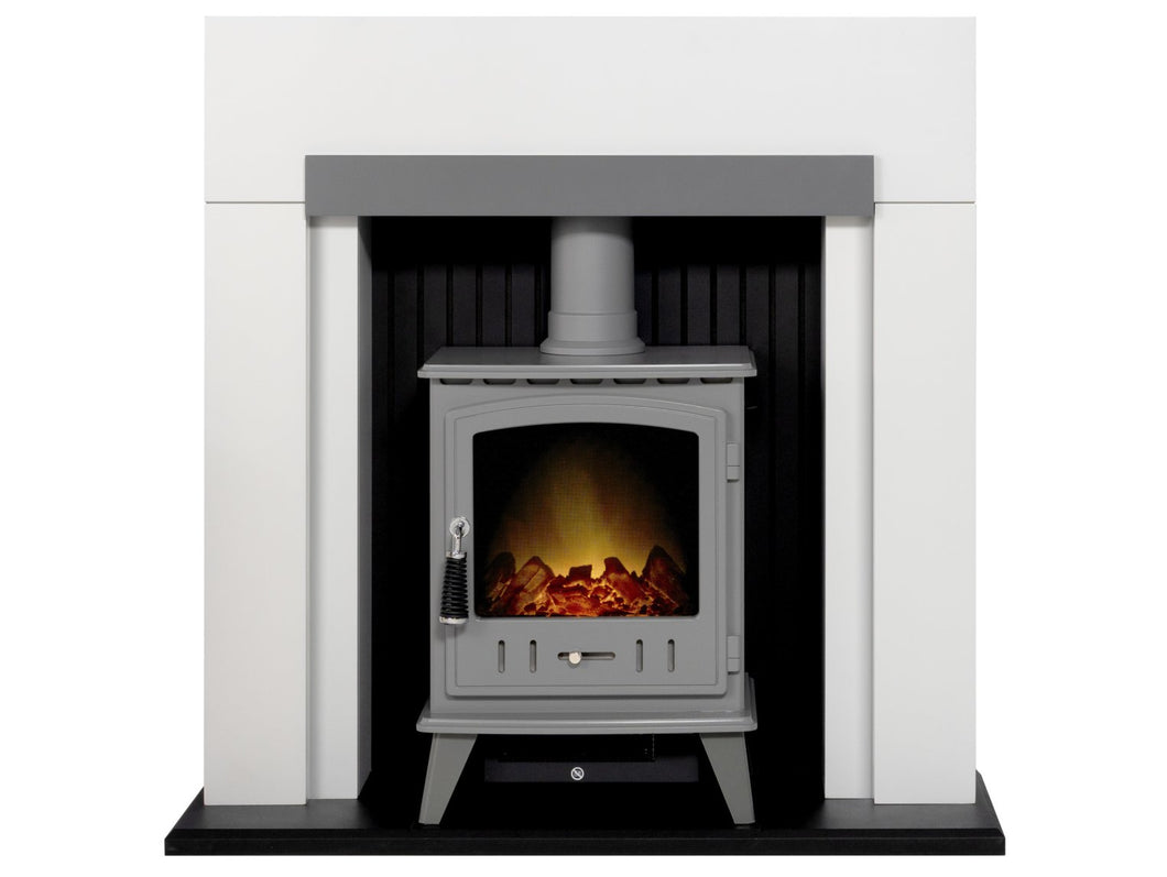 Adam Salzburg in Pure White & Grey with Aviemore Electric Stove in Grey Enamel, 39 Inch