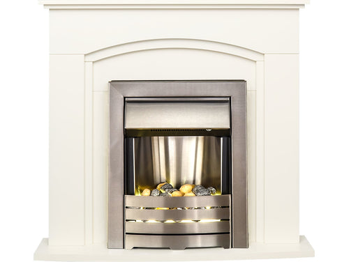 Adam Venice Fireplace Suite in Cream with Helios Electric Fire in Brushed Steel, 39 Inch
