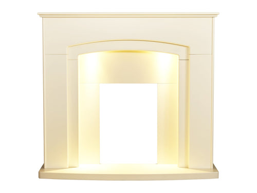 Adam Falmouth Fireplace in Cream with Downlights, 49 Inch