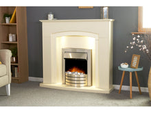Load image into Gallery viewer, Adam Falmouth Fireplace Cream + Downlights & Comet Electric Fire Brushed Steel, 49""