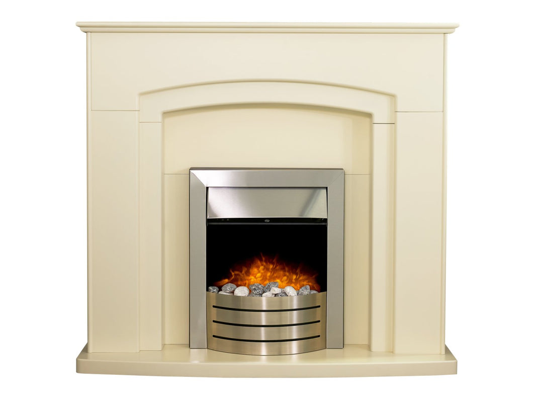 Adam Falmouth Fireplace in Cream with Downlights & Comet Electric Fire in Brushed Steel, 49 Inch