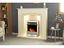 Load image into Gallery viewer, Adam Falmouth Fireplace Cream + Downlights & Eclipse Electric Fire Chrome, 49""