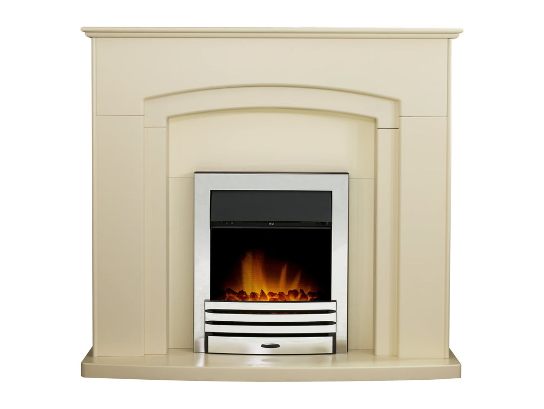 Adam Falmouth Fireplace in Cream with Downlights & Eclipse Electric Fire in Chrome, 49 Inch