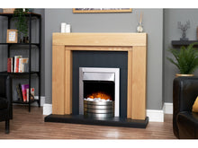 Load image into Gallery viewer, Adam Beaumont Oak & Black Fireplace + Downlights & Comet Electric Fire Brushed Steel, 48""