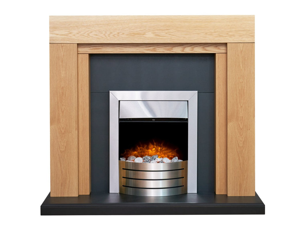 Adam Beaumont Oak & Black Fireplace with Downlights & Comet Electric Fire in Brushed Steel, 48 Inch