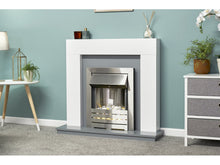 Load image into Gallery viewer, Adam Dakota Fireplace Pure White & Grey + Helios Electric Fire Brushed Steel, 39""