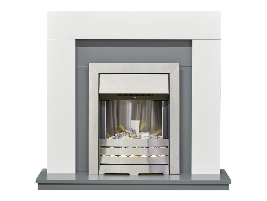 Adam Dakota Fireplace in Pure White & Grey with Helios Electric Fire in Brushed Steel, 39 Inch
