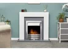 Load image into Gallery viewer, Adam Dakota Fireplace Pure White & Grey + Colorado Electric Fire Brushed Steel, 39""