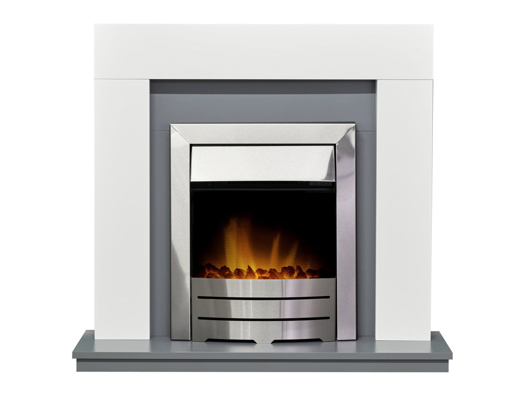 Adam Dakota Fireplace in Pure White & Grey with Colorado Electric Fire in Brushed Steel, 39 Inch