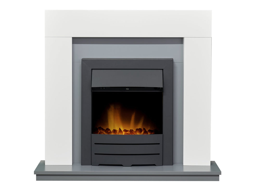 Adam Dakota Fireplace in Pure White & Grey with Colorado Electric Fire in Black, 39 Inch