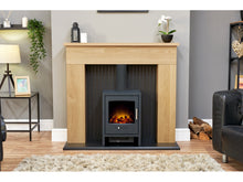 Load image into Gallery viewer, Adam Innsbruck Stove Fireplace Oak + Bergen Electric Stove Charcoal Grey, 48""