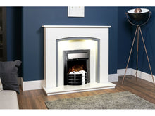 Load image into Gallery viewer, Adam Tuscany Fireplace Pure White & Grey + Comet Electric Fire Obsidian Black, 48""