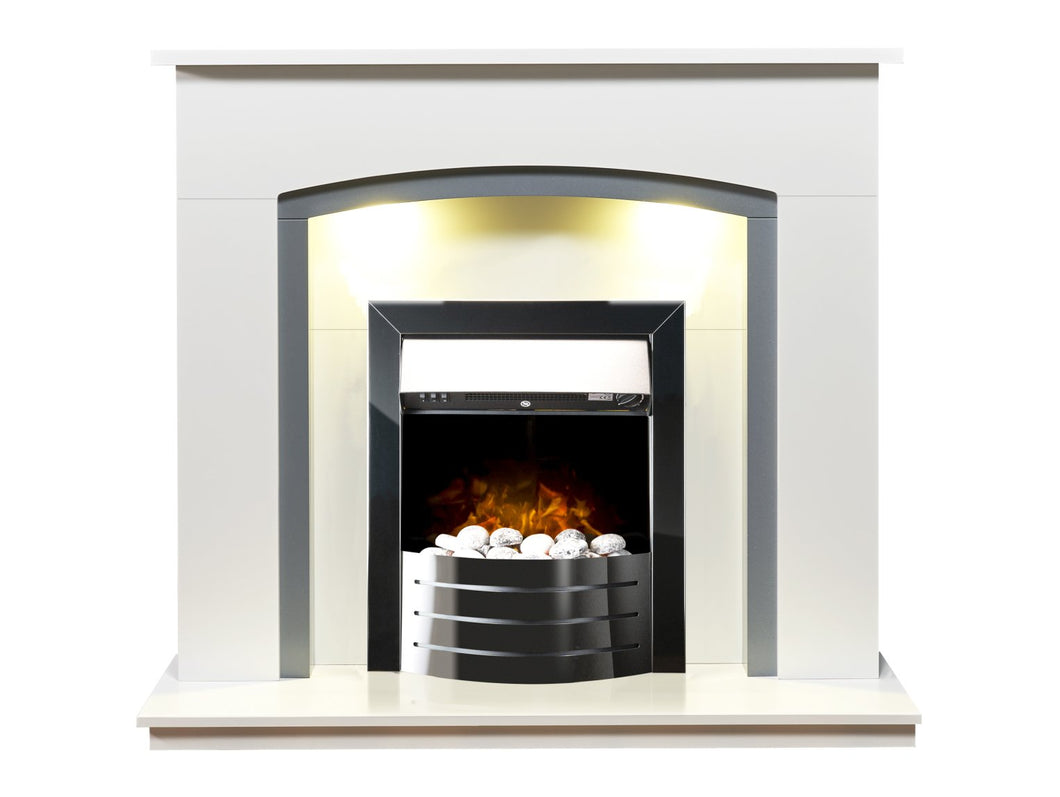Adam Tuscany Fireplace in Pure White & Grey with Comet Electric Fire in Obsidian Black, 48 Inch