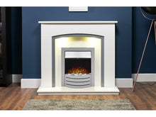 Load image into Gallery viewer, Adam Tuscany Fireplace Pure White & Grey + Comet Electric Fire Brushed Steel, 48""