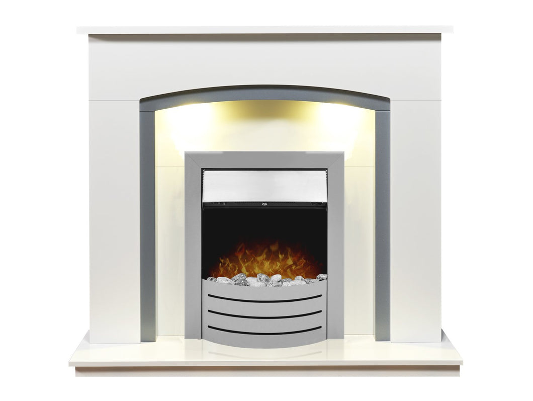Adam Tuscany Fireplace in Pure White & Grey with Comet Electric Fire in Brushed Steel, 48 Inch