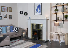 Load image into Gallery viewer, Adam Aviemore Electric Stove Black Enamel + Angled Stove Pipe