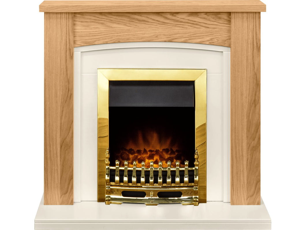 Adam Chilton Fireplace Suite in Oak with Blenheim Electric Fire in Brass, 39 Inch