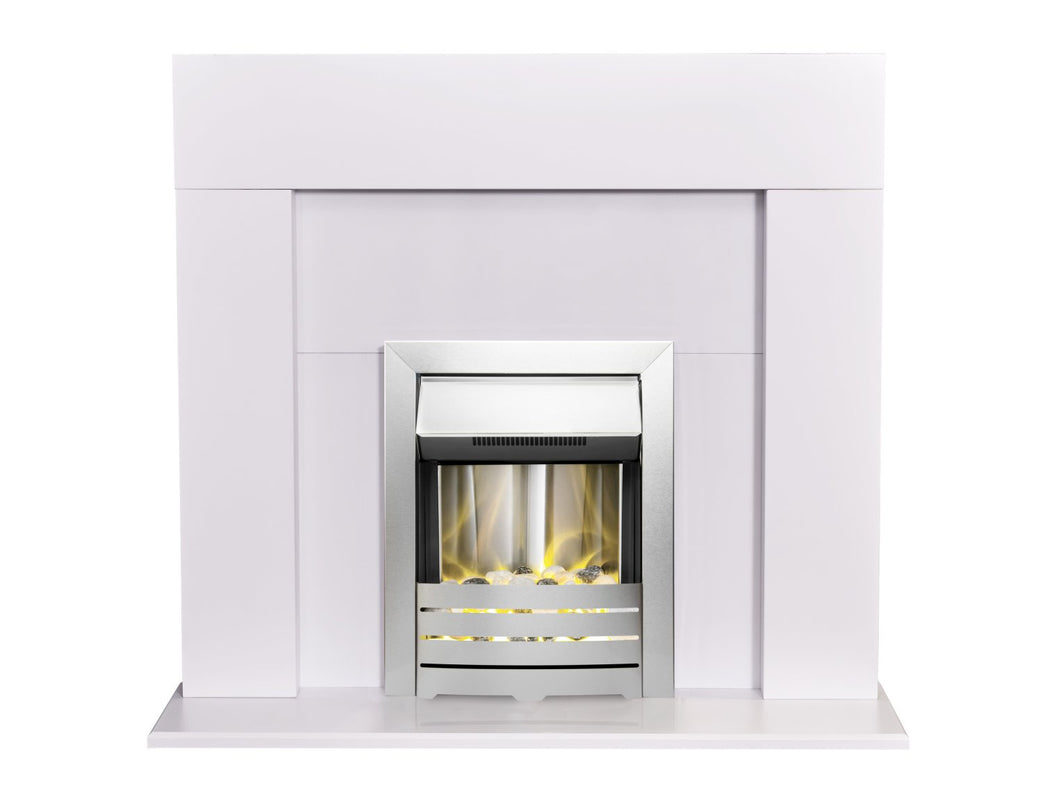 Adam Miami Fireplace in Pure White with Helios Electric Fire in Brushed Steel, 48 Inch