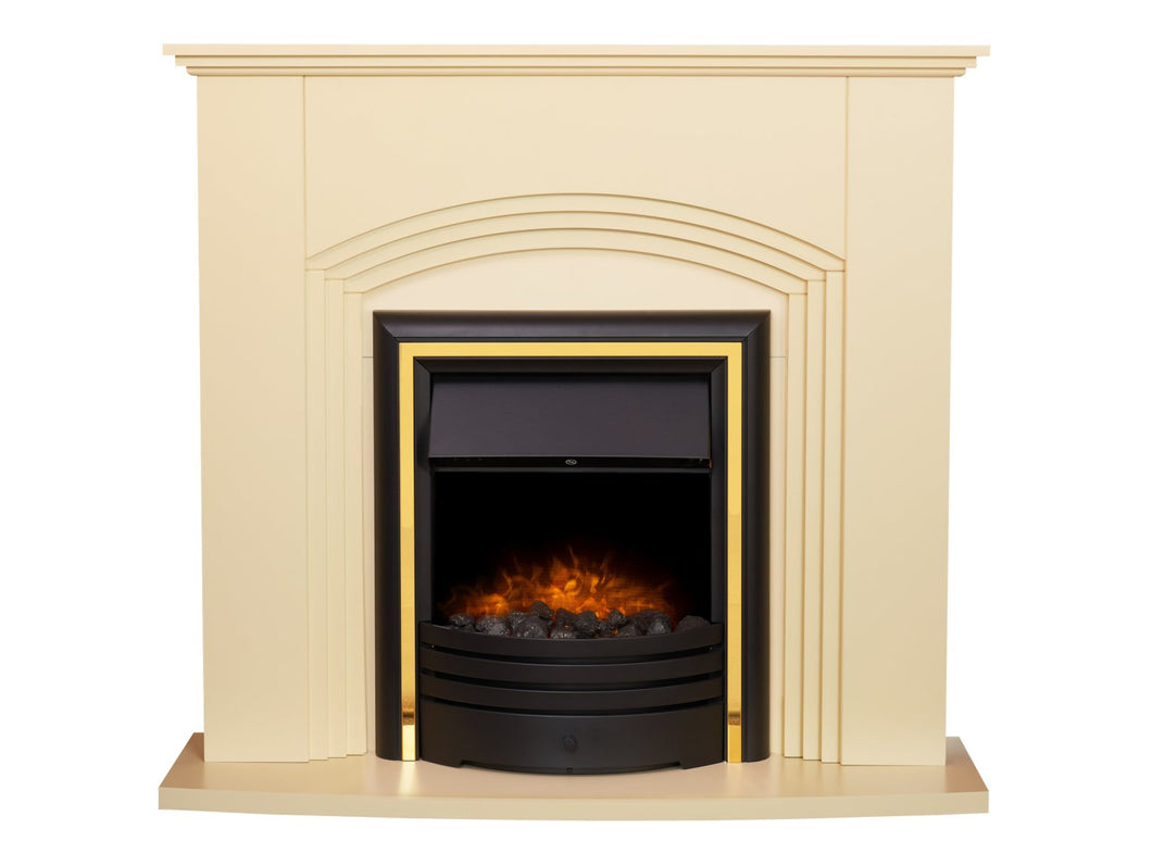 Adam Kirkdale Fireplace in Cream with Cambridge 6-in-1 Electric Fire in Black, 45 Inch