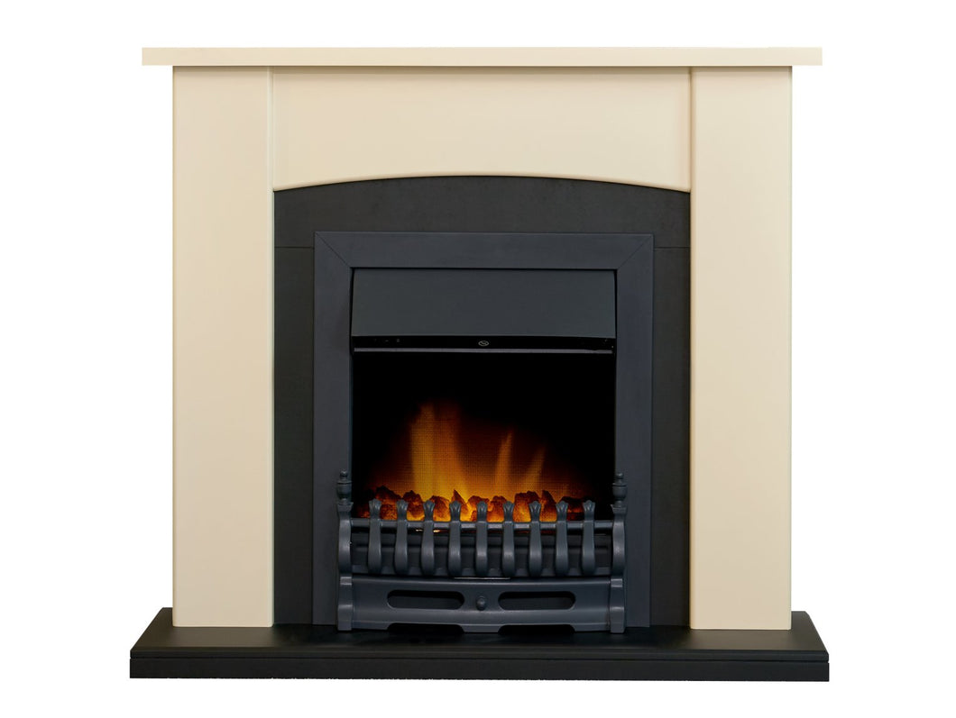 Adam Holden Fireplace in Cream & Black with Blenheim Electric Fire in Black, 39 Inch