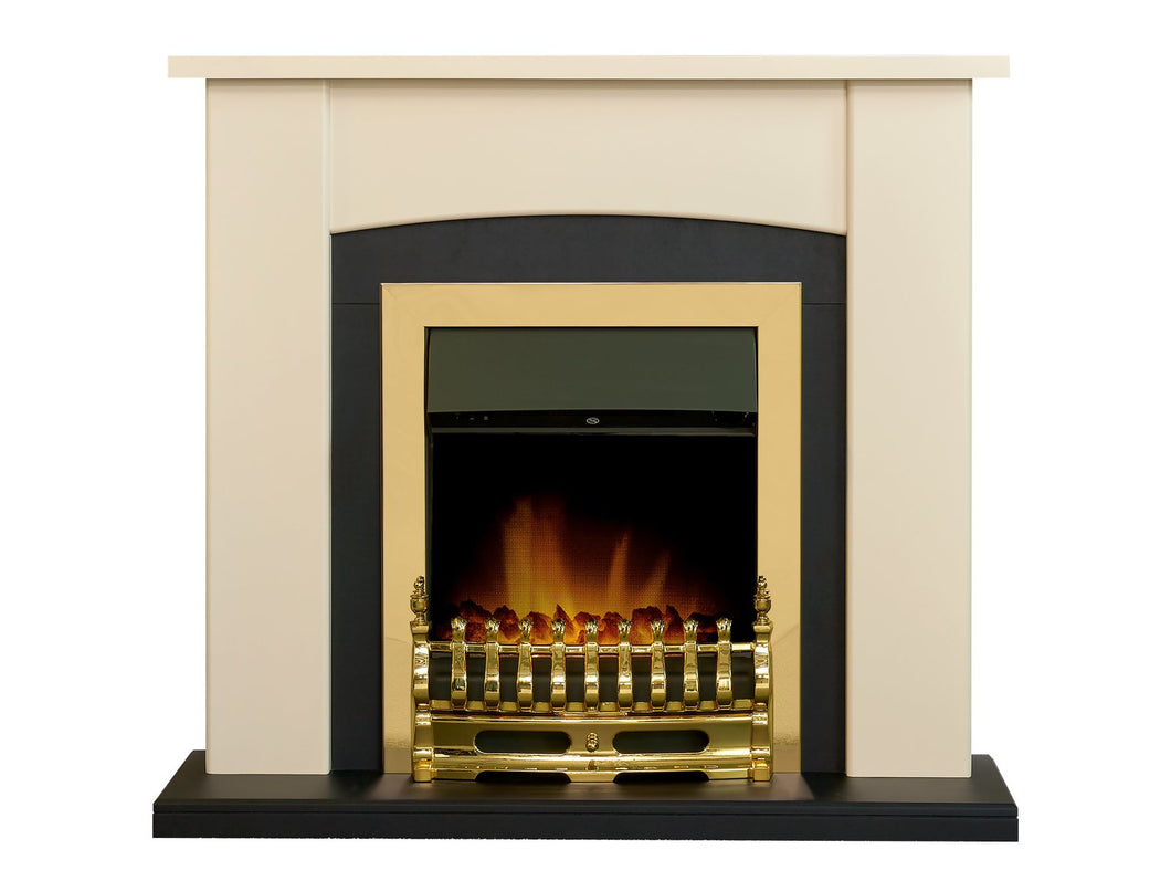 Adam Holden Fireplace in Cream & Black with Blenheim Electric Fire in Brass, 39 Inch